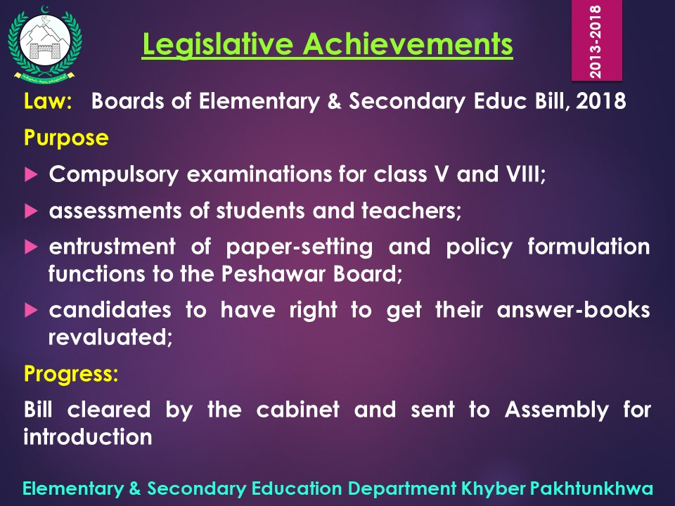 Free and Compulsory Education: Khyber Pakhtunkhwa Progress